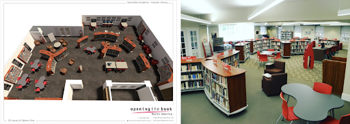 From Ms. Neely's Design to Reality  3D Floor Plan: Opening the Book North America   Back of the Library: Ruth Neely/Sewickley Academy