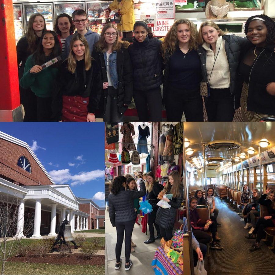 The Perse Exchange participants enjoy a day in downtown Pittsburgh and the Strip District. Clockwise: Top: All the Perse Students and their SA partners pose in Wholey's, a well-known fish market in the Strip. Right: Some of the students pause to rest in the once-functioning trolley car that resides in the Heinz History Center. Center: There's no shortage of unique souvenirs to buy in the Strip! Left: The day ends where it started: under blue skies on the SA campus. (Wholeys: Ken Goleski/Sewickley Academy All others: Helen Large/The Perse School)