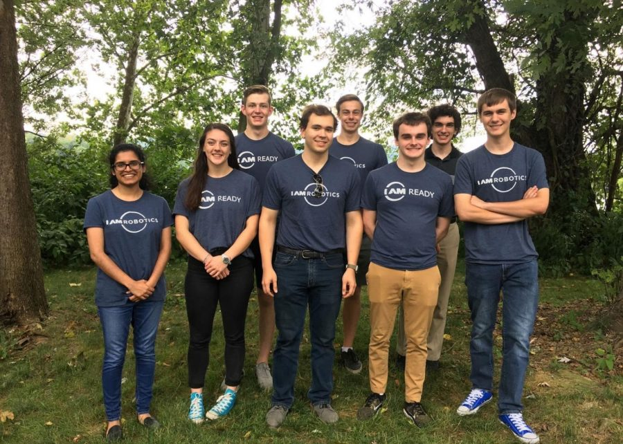Five Sewickley Academy graduates along with their coworkers at IAM Robotics. The SA grads are: Back row: Grant Recker and Adam Brown.  Front row: Mason Sanfilippo, Michael Bartholic and Arnas Scheel.  Credit: IAM Robotics.