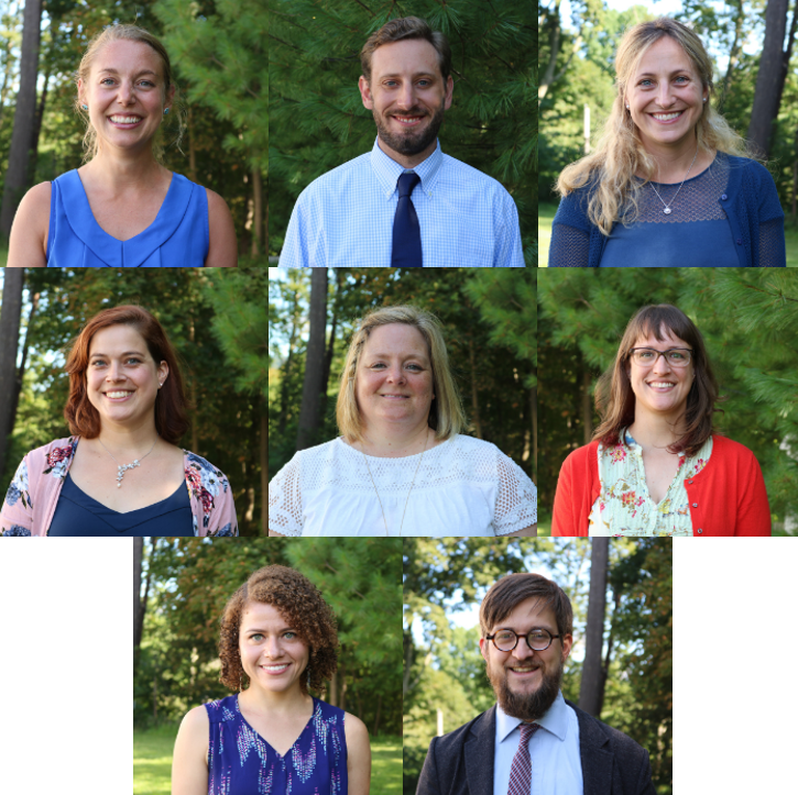 The new Senior School faculty.   Top row: Ms. Brayer, Mr. Coons and Dr. Cozzolino  Second row: Ms. Downs, Ms. Fairman and Ms. Mason  Third row: Ms. Pease-Kerr and Mr. Svensson  Credit: Sewickley Academy