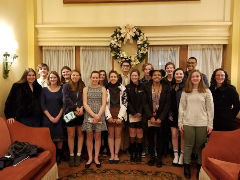 The students who went on the trip to see Les Mis have just finished watching the show at the Benedum Center in Pittsburgh. (Joe Jackson/Sewickley Academy)
