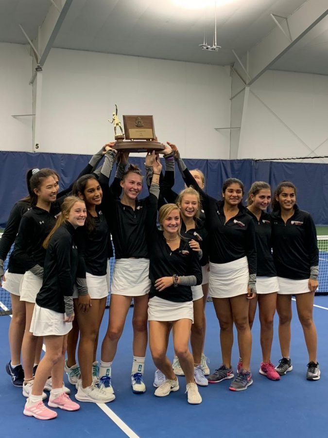 Sewickley hoists the WPIAL championship trophy overhead after beating Knoch High School 3-2. (SAGVT Team/Sewickley Academy)