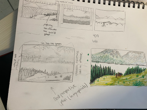 Samuel Rampelts' designs for the musical's backgrounds are looking wonderful. (Nikki Golestan/Sewickley Academy)