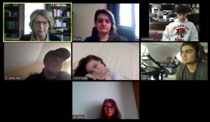 (Most of) Mrs. Russell's 12th grade advisory meets up every Tuesday via Zoom, including this meeting on March 14. Top row: Mrs. Ann Russell, Eirnin Mahoney, Arjan Bedi. Middle row: JF Aber, Caroline Cox, Samuel Rampelt. Bottom row: Abby Weir. (Eirnin Mahoney/Sewickley Academy)